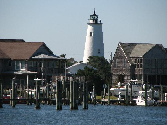 Castle on Silver Lake: View of the lighthouse from the north side of the island