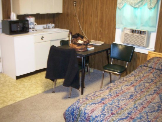 Hillcrest Motel: Kitchen area in main room by double bed