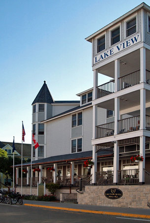 Lake View Hotel : Sit and relax on the front porch and enjoy the timeless view that you can only view on Mackinac.