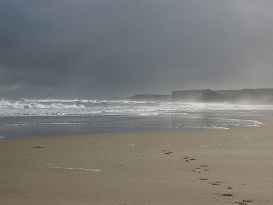 South Shields, UK: Sandhaven beach in winter