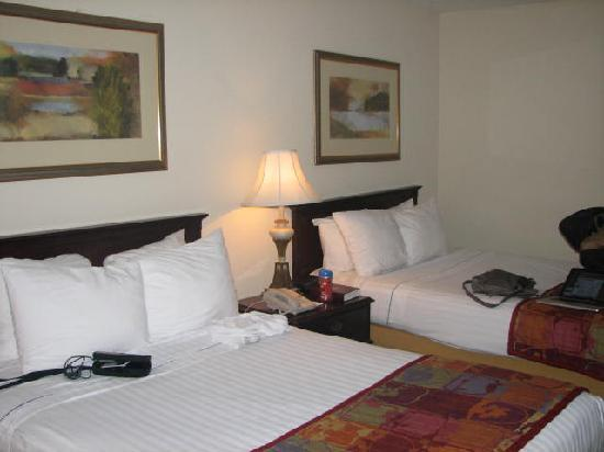 Point Plaza Suites and Conference Hotel: 2 full size beds, no bulky comforter but warm and cozy