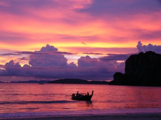 The sunset at Railay Beach at Krabi