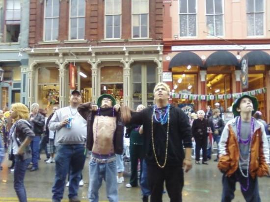 My 3rd son flashing at mardi gras to get beads from old ladies, lol (a