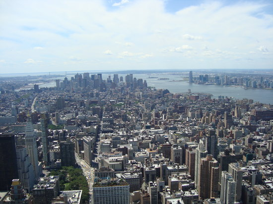 New York City, NY: Empire State Building Observatory Deck- Downtown View