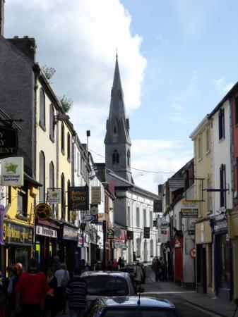 The business district. Ennis, County Clare, Ireland. Note the very wide roads (NOT) and driving