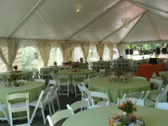 Stone Mountain Lodge Cabins Wedding Reception Tent by the Pond