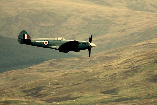 Spitfire over Moffat Lord  Dowding Memorial