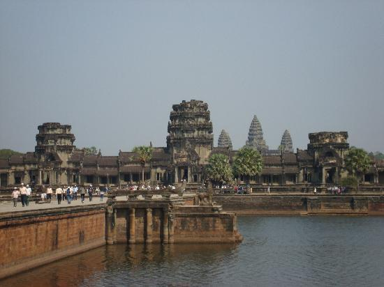 Siem Reap, Cambodia: entrance causeway to Angkor Wat across the moat