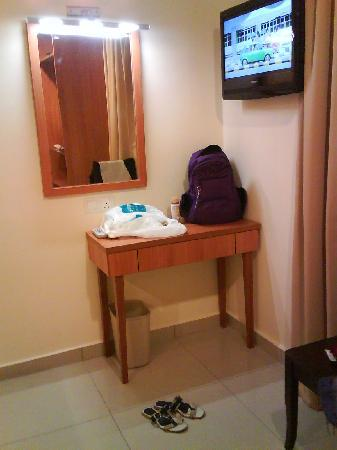 My Hotel @ Sentral: side table and LCD TV on top