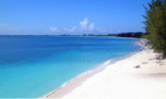Cayman Islands: 7-mile beach from above, Grand Cayman