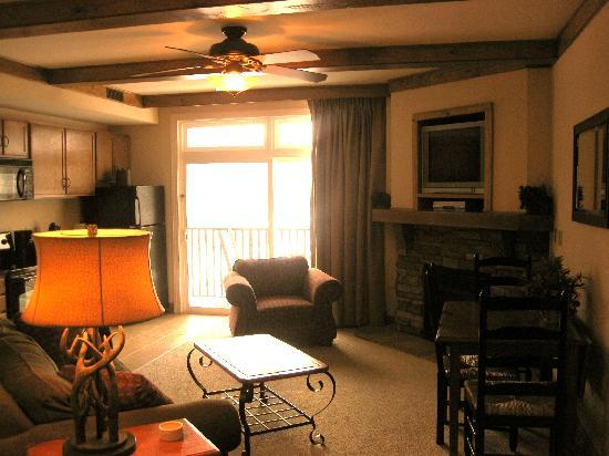 Smokey Mountain Resort: Living room/dining room/kitchen area of 1-Bedroom unit