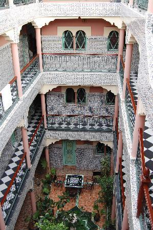 Hotel Central Palace: the inner court of the hotel from the top roof terrace