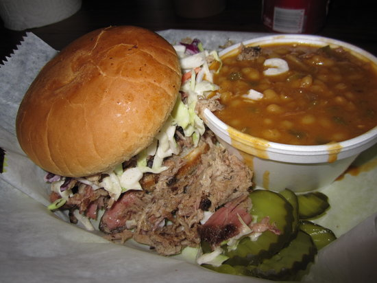 The Joint: Pulled pork sandwich and baked beans