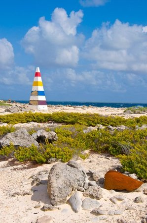 Kralendijk, Bonaire: This is a historic salt marker, used to guide ships unto shore, the various colors represented t