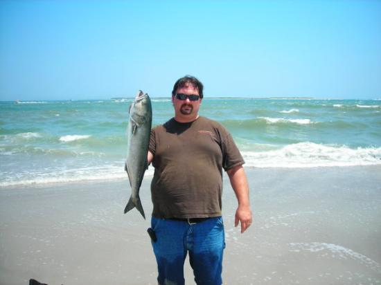 My first fish i caught surf fishing at fort macon beach a for Oceanana pier fishing report