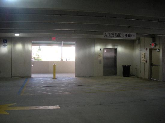 isolated area in parking garage picture of hilton