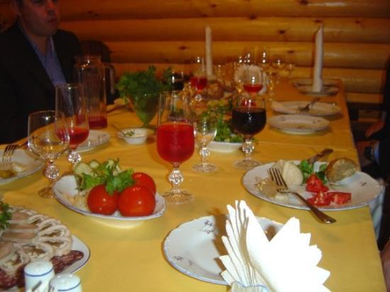 Rostov-on-Don, Russia: Russian dinner, Lord knows where in Russia at 1:00 A.M.