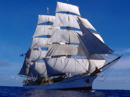 Rodrigues Island: The Picton Castle-World Voyage IV (2005-6). Barque rig. Circumnavigated the world from Lunenburg