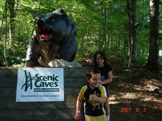 Collingwood, Canadá: Haley was too affraid of the bear to get any closer. Silly kid.
