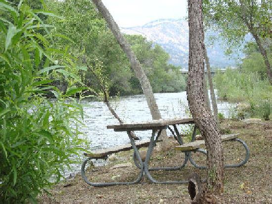 RiverFront Cabins Kaweah General Store: benches in the backyard, by the river