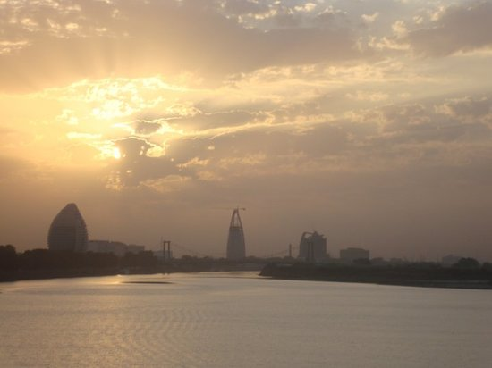 View of Khartoum from a bridge over the Blue Nile.