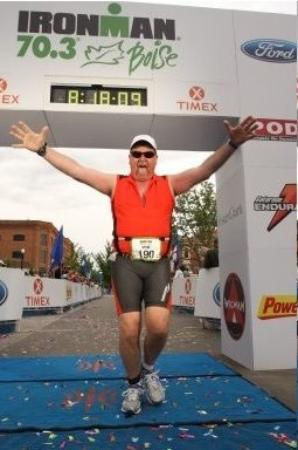 Rufus, Όρεγκον: Having fun at Ironman 70.3 Boise... at the finish!