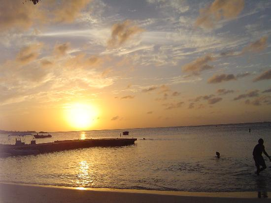 Sun set over Grand Anse beach