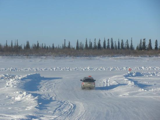 Entry point to the Ice road to Tuktoyaktuk from Inuvik