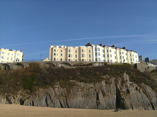 The Belgrave Hotel: the hotel from the beach