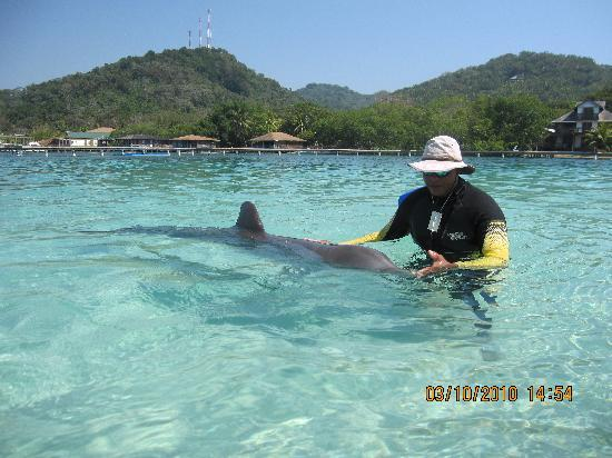 Sandy Bay, Honduras: Anthony and his trainer