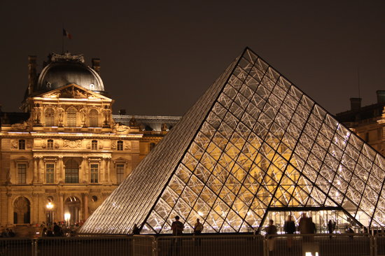 Paris, France : Glass Pyramid, the Louvre at night