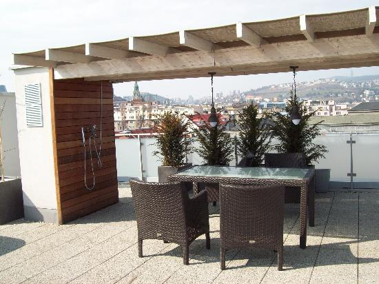 Table and chairs on rooftop terrace picture of mama 39 s for Mamas design boutique hotel bratislava