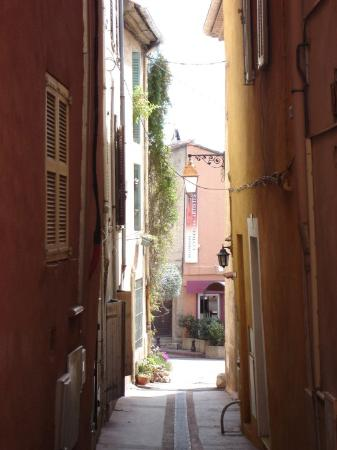Fréjus, France : Alley with planted courtyard in Frejus