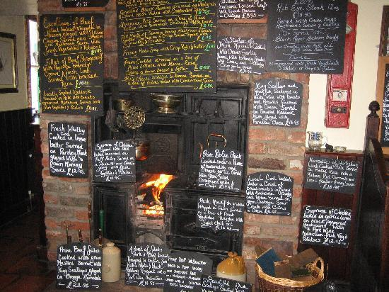 The Postgate Inn: The extensive menu and welcoming fire