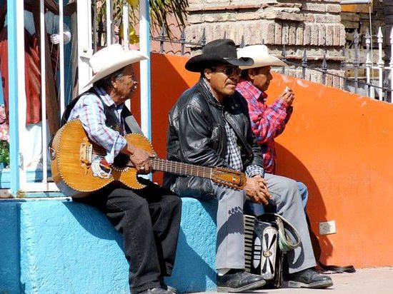 Tijuana, Mexico: Musicians gathered at Plaza Santa Cecilia