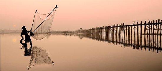 Dawn at the Ubein Bridge, near Mandalay
