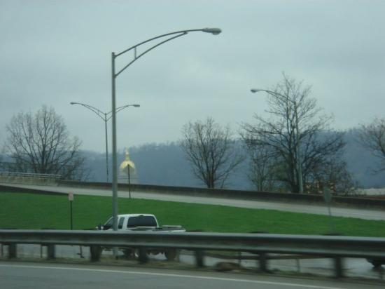 Charleston, WV. Caught a glimpse of some green grass and a shiny building~