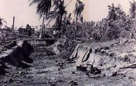 Kwajalein Island, Marshall Islands: Damage after the W.W.II battle on Kwajalein 1944