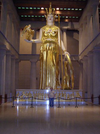 The Parthenon at Athens  Toward the west end of the interior colonnade was a statue base for the cult statue of Athena Parthenos with a large shallow rectangle cut to create a reflecting pool in front of it The Phidias statue was made of gold and ivory with polychrome details