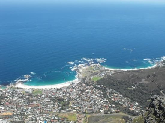 Table Mountain. View down to Camps Bay