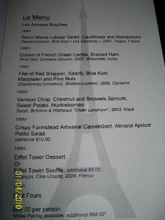 menu picture of eiffel tower restaurant at paris las vegas las vegas tripadvisor. Black Bedroom Furniture Sets. Home Design Ideas