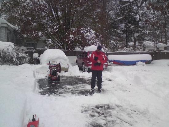 Long Island City, NY: Snow-blower fail.