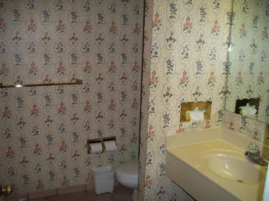 The Inn At Claussen's: Old wallpapered bathroom!