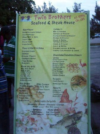 Menu Picture Of Twin Brothers Restaurant Nassau