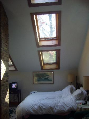 Morgan&#39;s Rest Bed &amp; Breakfast: king bed under the numerous skylights