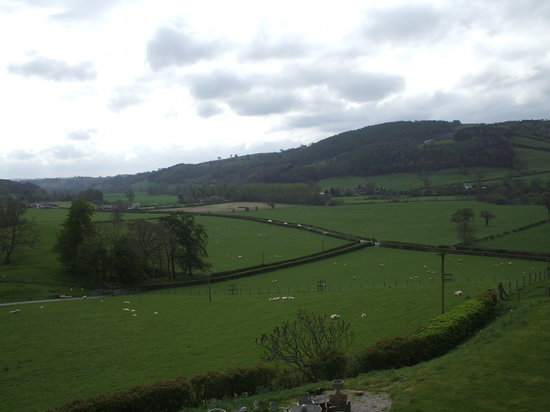 Llanfyllin, UK: view from top window on a rainy day