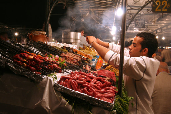 Marrakech food stalls in Jema Al-Fna