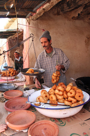 Amizmiz rural market doughnut seller