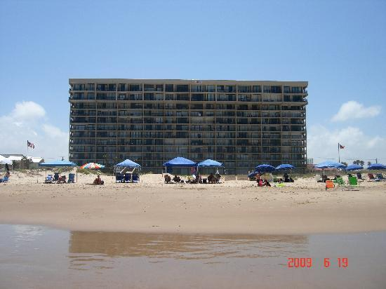 Suntide III Condominiums: View from the beach looking back at the building.