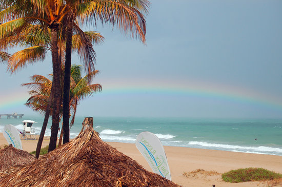 Pompano Beach, FL: Rainbow over Atlantic (photo taken from our balcony)